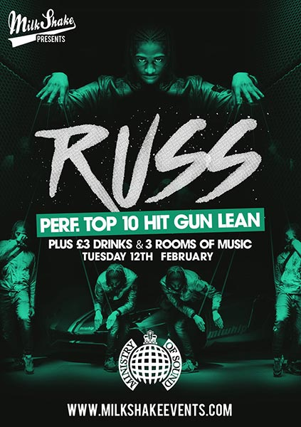 Russ at Ministry of Sound on Tue 12th February 2019 Flyer