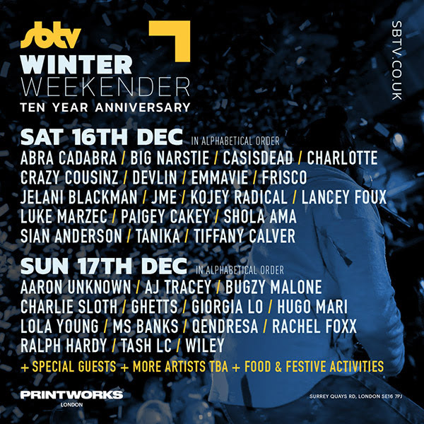 SB.TV Winter Weekender Day 1 at Printworks on Sat 16th December 2017 Flyer