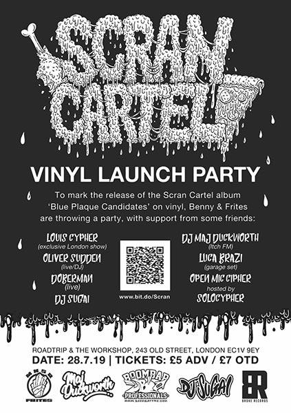Scran Cartel Vinyl Launch Party at Roadtrip & The Workshop on Sun 28th July 2019 Flyer