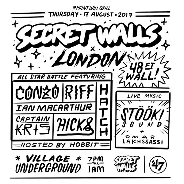 Secret Walls X London at Village Underground on Thu 17th August 2017 Flyer