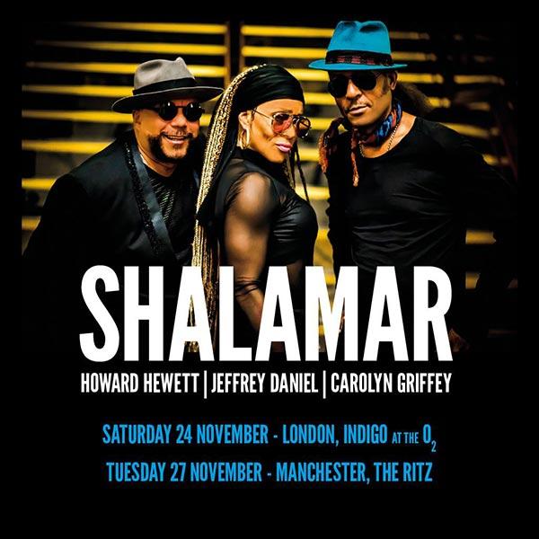Shalamar at Indigo2 on Sat 24th November 2018 Flyer