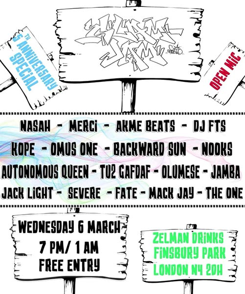 Slam Jam at Zelman Drinks on Wednesday 6th March 2019 Flyer