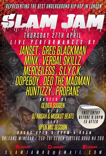 Slam Jam at Orleans on Thu 27th April 2017 Flyer