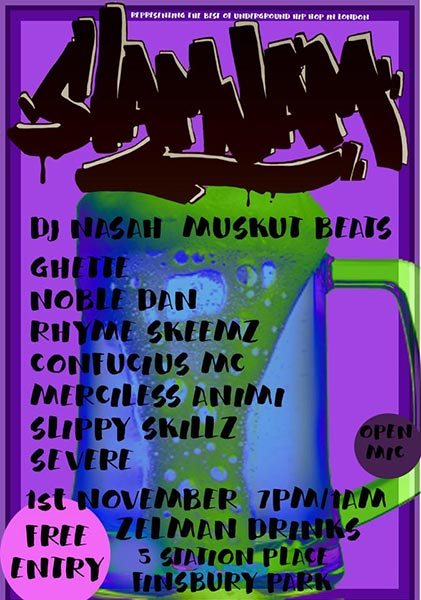 Slam Jam at Finsbury Park on Wednesday 1st November 2017 Flyer