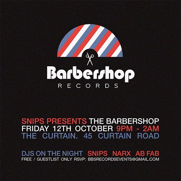 The Barbershop at The Curtain on Fri 12th October 2018 Flyer