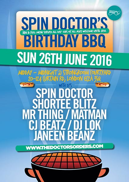 Spin Doctor's Birthday BBQ at KOKO on Sunday 26th June 2016 Flyer