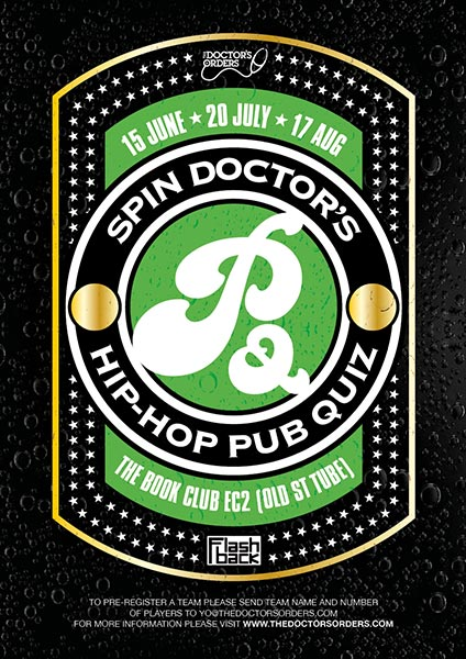 Hip Hop Pub Quiz at Book Club on Thu 17th August 2017 Flyer