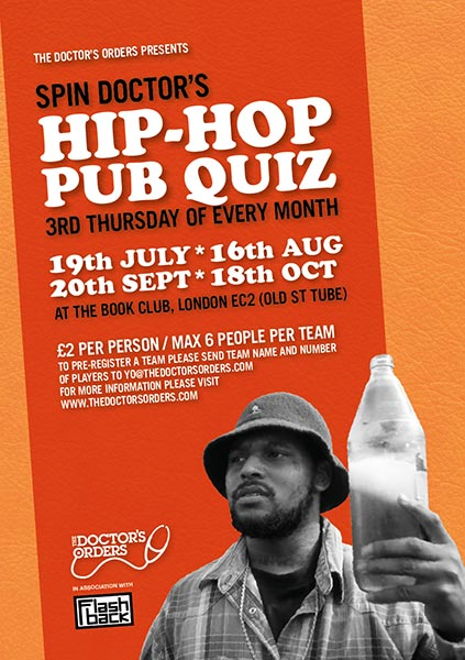 Spin Doctor's Hip-Hop Pub Quiz at Book Club on Thu 16th August 2018 Flyer