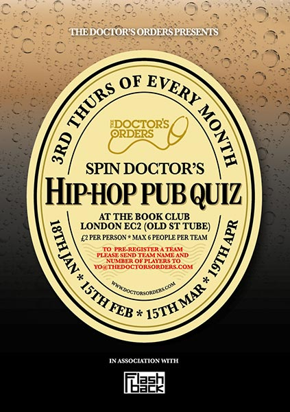 Spin Doctor's Hip-Hop Pub Quiz at Book Club on Thu 15th March 2018 Flyer