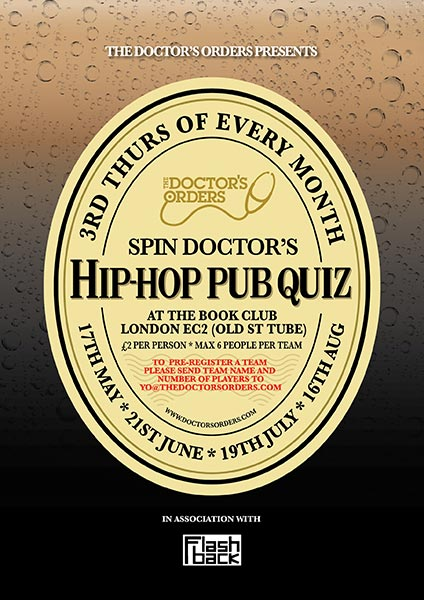 Spin Doctor's Hip-Hop Pub Quiz at Book Club on Thu 17th May 2018 Flyer