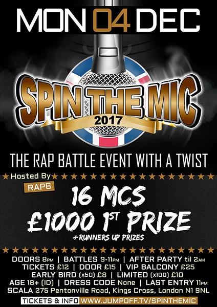 Spin the Mic at Finsbury Park on Monday 4th December 2017 Flyer