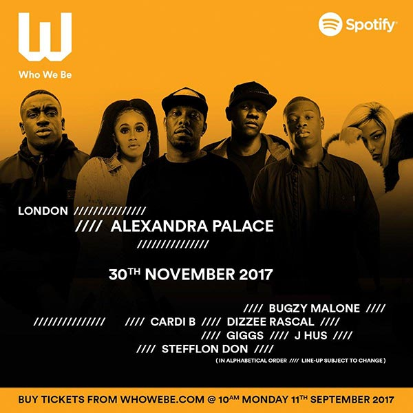 Who We Be Live at Finsbury Park on Thursday 30th November 2017 Flyer