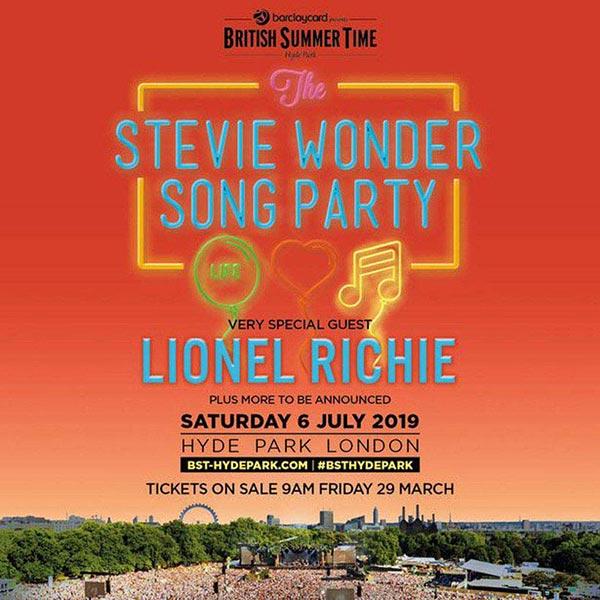 Stevie Wonder at Hyde Park on Sat 6th July 2019 Flyer