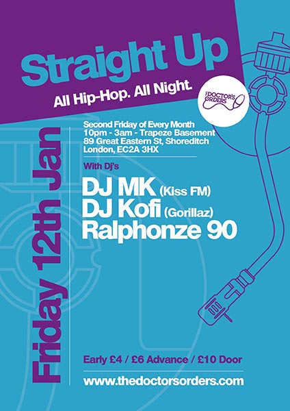 Straight Up - All Hip-Hop. All Night at Trapeze on Fri 12th January 2018 Flyer