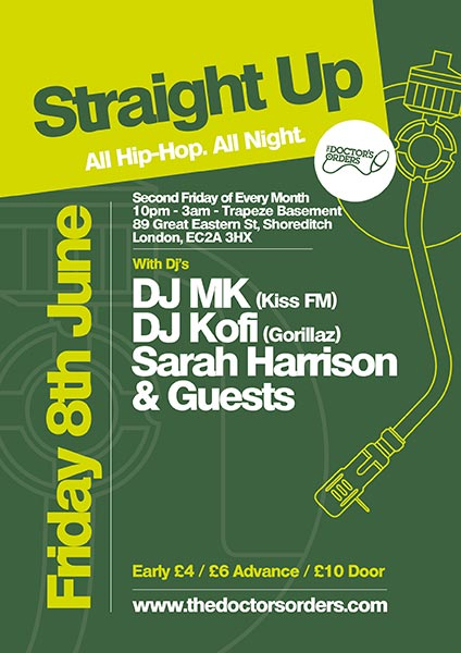 Straight Up at Trapeze on Fri 8th June 2018 Flyer