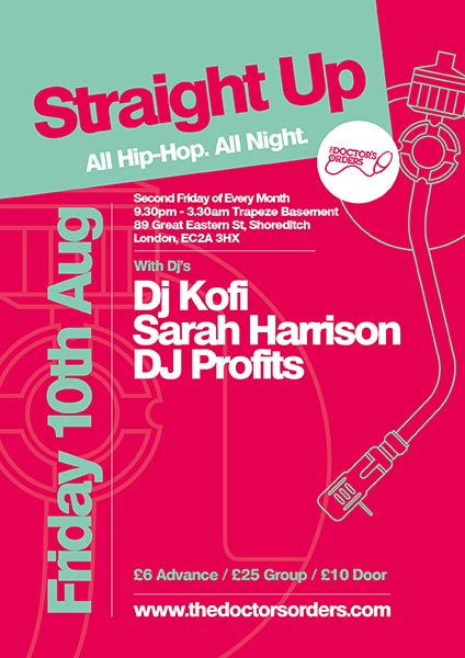 Straight Up at Trapeze on Fri 10th August 2018 Flyer