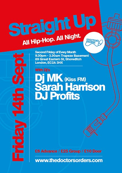 Straight Up at Trapeze on Fri 14th September 2018 Flyer
