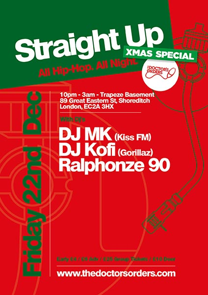 Straight Up - All Hip-Hop. All Night at Trapeze on Friday 22nd December 2017 Flyer