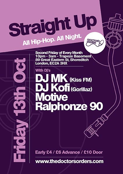 Straight Up - All Hip-Hop. All Night at Trapeze on Fri 13th October 2017 Flyer
