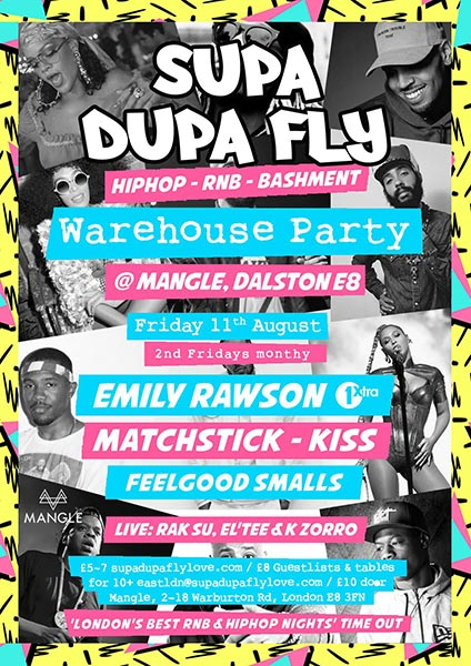 Supa Dupa Fly x Warehouse Party at The Laundry Building on Fri 11th August 2017 Flyer