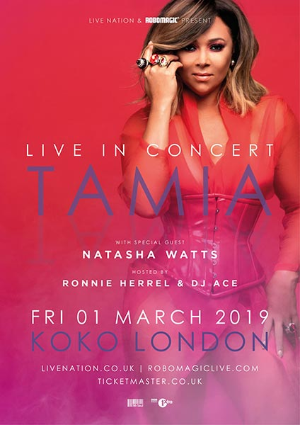 Tamia at KOKO on Friday 1st March 2019 Flyer