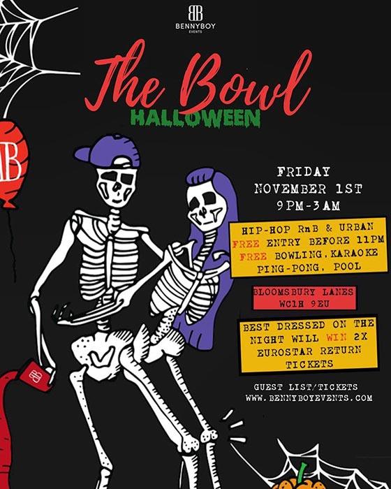 The Bowl Halloween at Bloomsbury Bowl on Fri 1st November 2019 Flyer