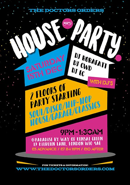 TDO House Party at Paradise by way of Kensal Green on Sat 15th December 2018 Flyer