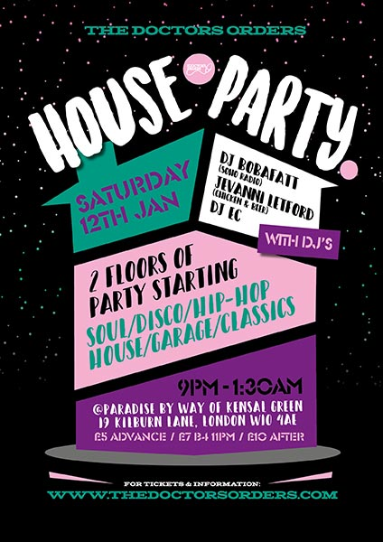 TDO House Party at Paradise by way of Kensal Green on Sat 12th January 2019 Flyer