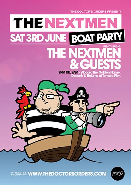 The Nextmen Boat Party at Temple Pier on Sat 3rd June 2017 Flyer