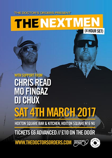 The Nextmen at Brixton Academy on Saturday 4th March 2017 Flyer