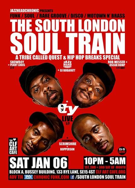 The South London Soul Train at Bussey Building on Saturday 6th January 2018 Flyer