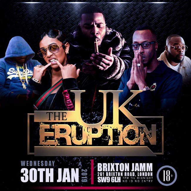 The UK Eruption at Brixton Jamm on Wed 30th January 2019 Flyer