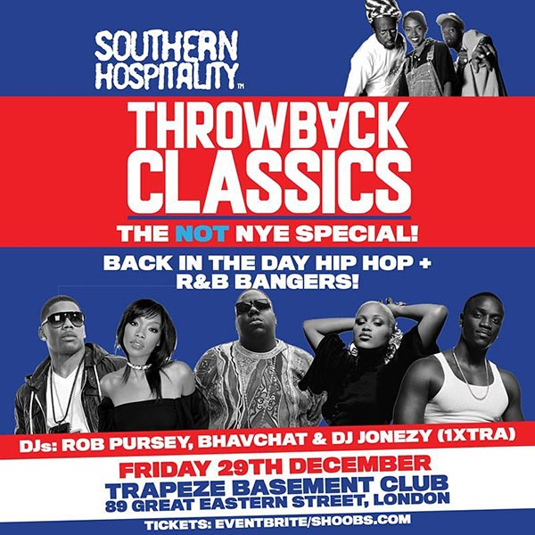 Throwback Classics! at Trapeze on Friday 29th December 2017 Flyer