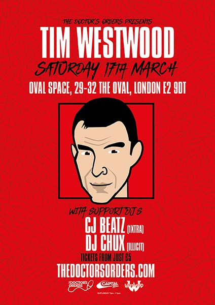 Tim Westwood at Oval Space on Sat 17th March 2018 Flyer