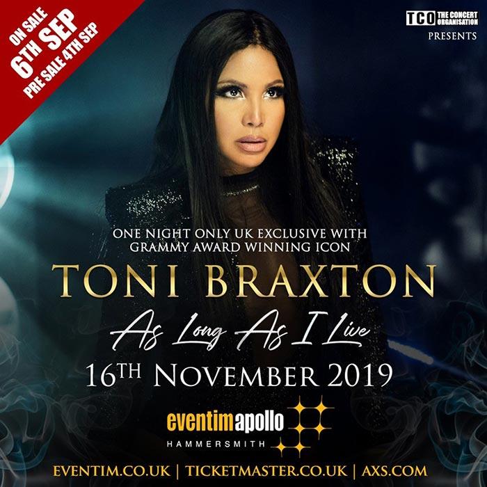 Toni Braxton at Hammersmith Apollo on Sat 16th November 2019 Flyer