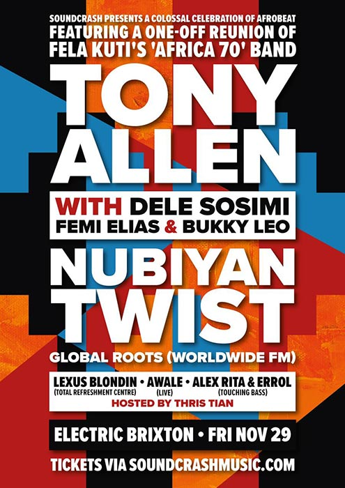 Tony Allen at Electric Brixton on Fri 29th November 2019 Flyer