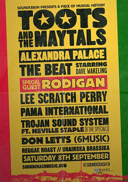 Toots & The Maytals at Alexandra Palace on Sat 8th September 2018 Flyer