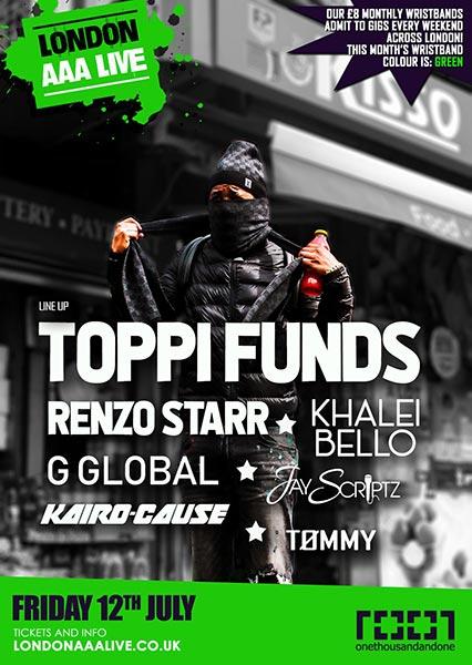 Toppi Funds at Cafe 1001 on Fri 12th July 2019 Flyer