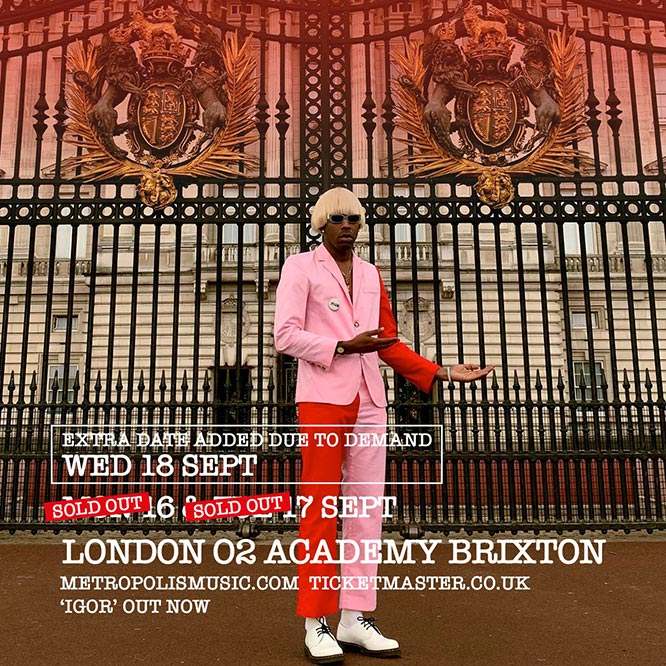 Tyler, the Creator at Brixton Academy on Mon 16th September 2019 Flyer