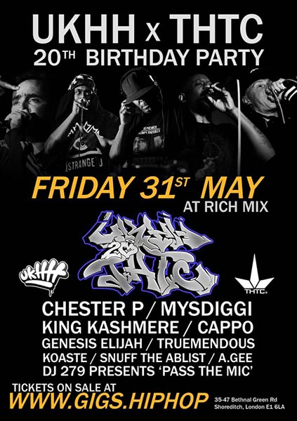 UKHH.com x THTC 20th Birthday Party!  at Rich Mix on Fri 31st May 2019 Flyer