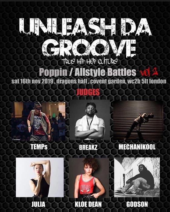 Unleash da Groove at Dragon Hall Trust on Tue 19th November 2019 Flyer