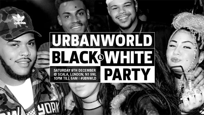 Urban World Black & White Party 2017 at Scala on Sat 9th December 2017 Flyer