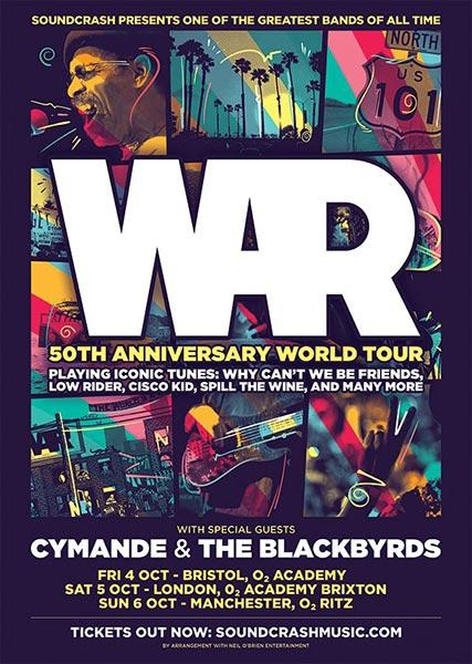 WAR at Brixton Academy on Sat 5th October 2019 Flyer