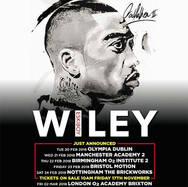 Wiley at Brixton Academy on Fri 2nd March 2018 Flyer