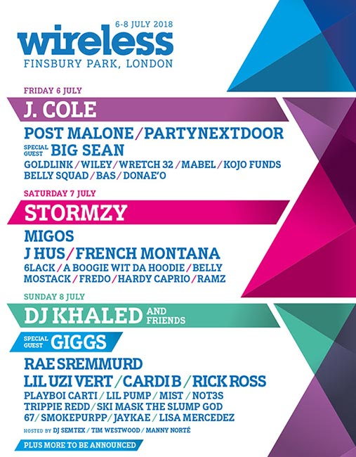 Wireless Festival 2018 Saturday at Finsbury Park on Saturday 7th July 2018 Flyer