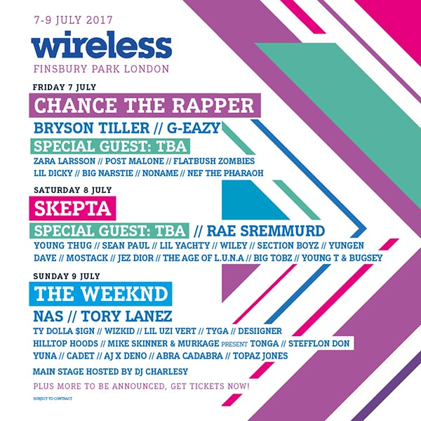 Wireless Festival 2017 Saturday at Finsbury Park on Sat 8th July 2017 Flyer