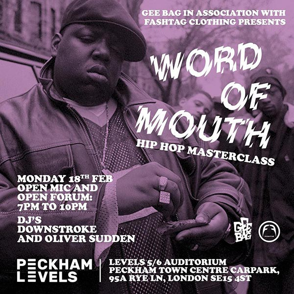 Word of Mouth at Peckham Levels on Mon 18th February 2019 Flyer