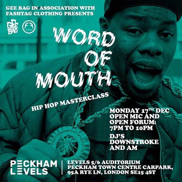 Word of Mouth at Peckham Levels on Mon 17th December 2018 Flyer