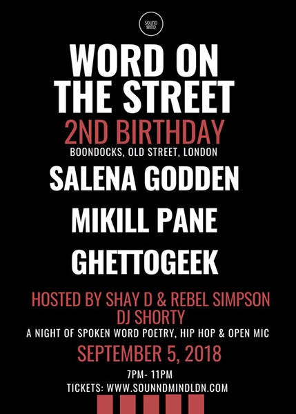 Word on the Street at Boondocks on Wednesday 5th September 2018 Flyer