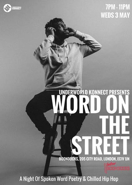 Word on the Street at Boondocks on Wed 3rd May 2017 Flyer